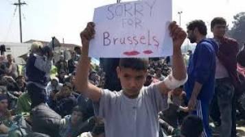 «متاسفم بروکسل»؛ تابلوی کودک پناهجوی سوری