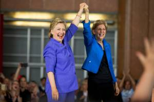 آغاز کمپین مشترک هیلاری کلینتون و الیزابت وارن علیه ترامپ
