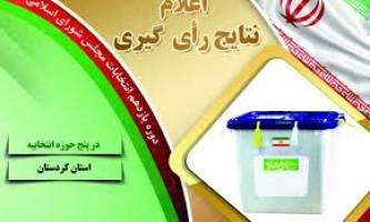 اعلام نتایج نهایی انتخابات  حوزه انتخابیه قروه و دهگلان